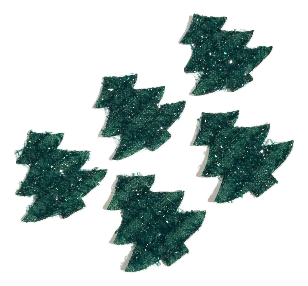 Green glitter Christmas tree padded appliqués - MAE Inspirations