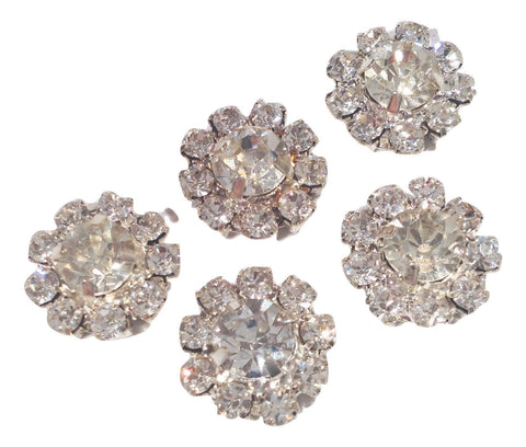 12mm clear metal rhinestone flat back button - MAE Inspirations