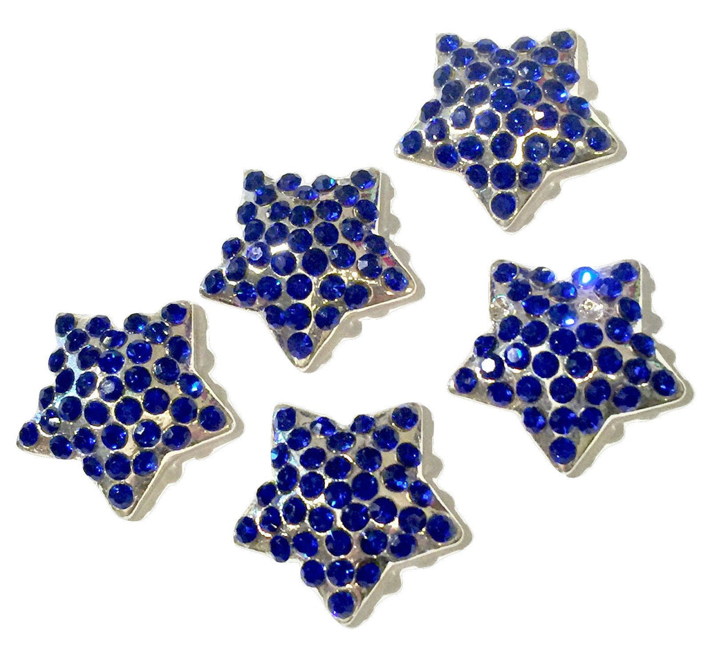21mm royal blue 4th of July star metal rhinestone flat back button - MAE Inspirations
