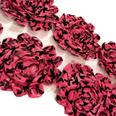 "Hot pink damask print 2.5"" shabby chiffon rose trim - MAE Inspirations"