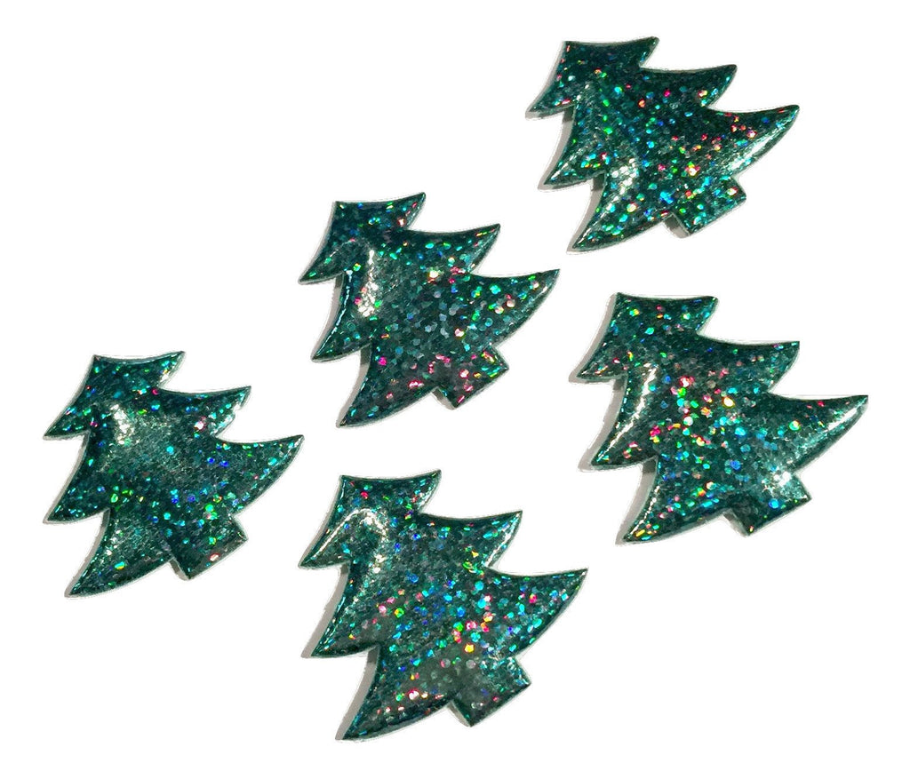Green holographic Christmas tree padded appliqués - MAE Inspirations