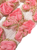 "Light pink 3"" sequin butterfly shabby chiffon rose trim - MAE Inspirations"
