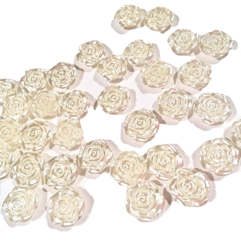 12mm Ivory flower shaped flat back pearls - MAE Inspirations  - 1