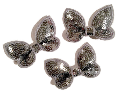 "Gray 2"" butterfly sequin bow / 1-3 pieces - MAE Inspirations"