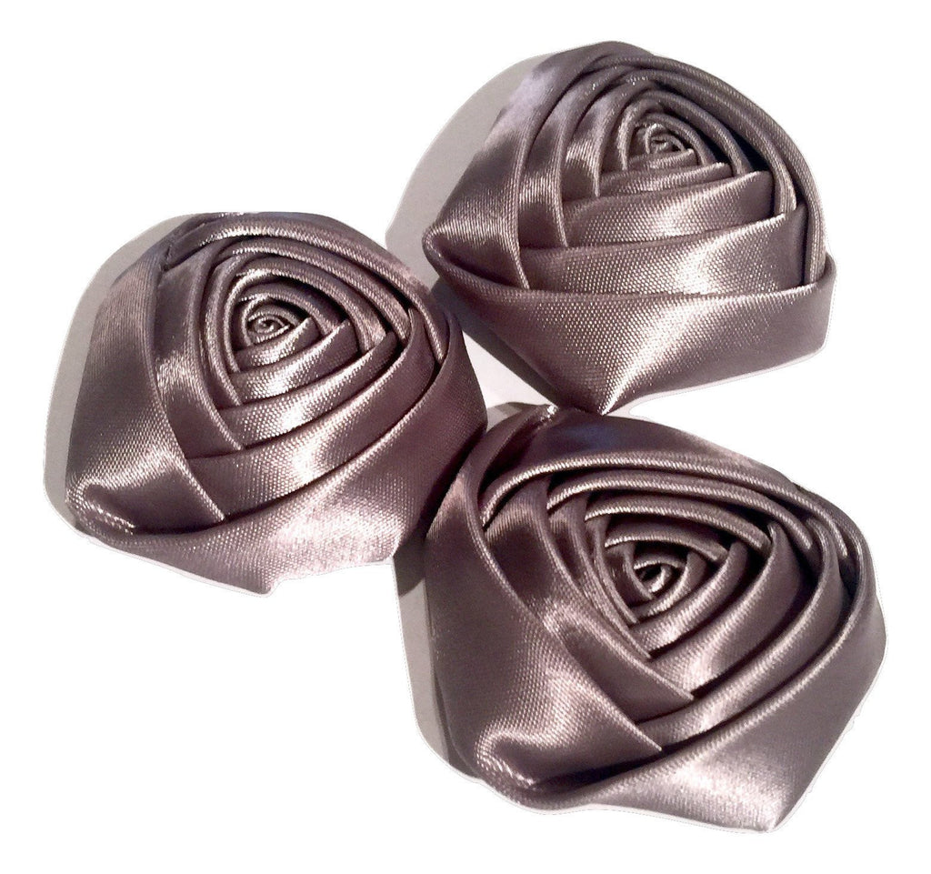 "Gray 2"" satin rolled rosette flower - MAE Inspirations"