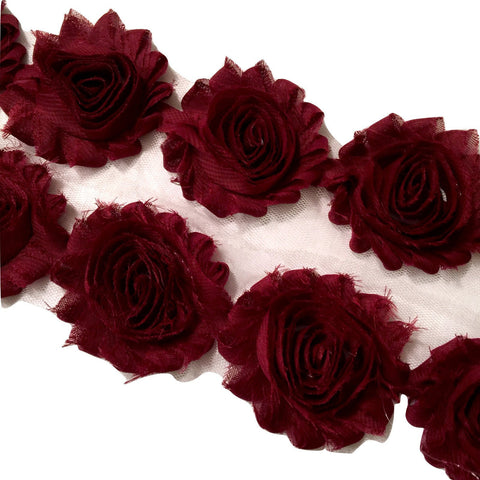 "Burgundy 2.5"" shabby chiffon rose trim - MAE Inspirations"