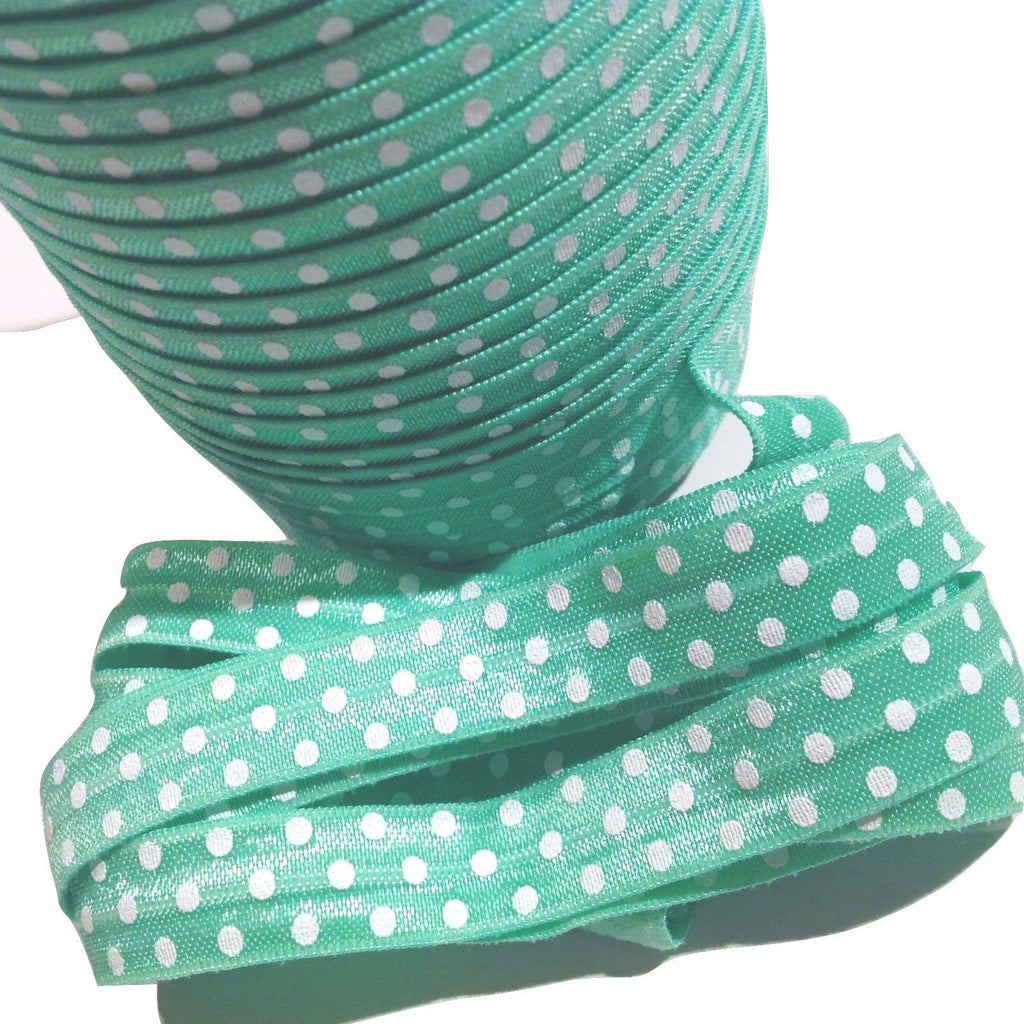 "Light green polka dot printed 5/8"" fold over elastic FOE - MAE Inspirations"