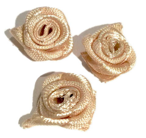 "Beige petite 1/2"" satin ribbon rolled rosette flower - MAE Inspirations"