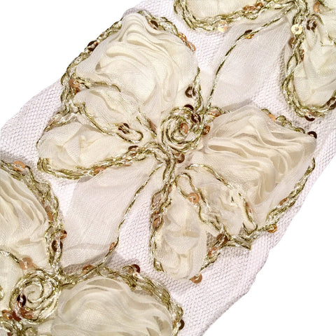 "Ivory 3"" sequin butterfly shabby chiffon rose trim - MAE Inspirations"