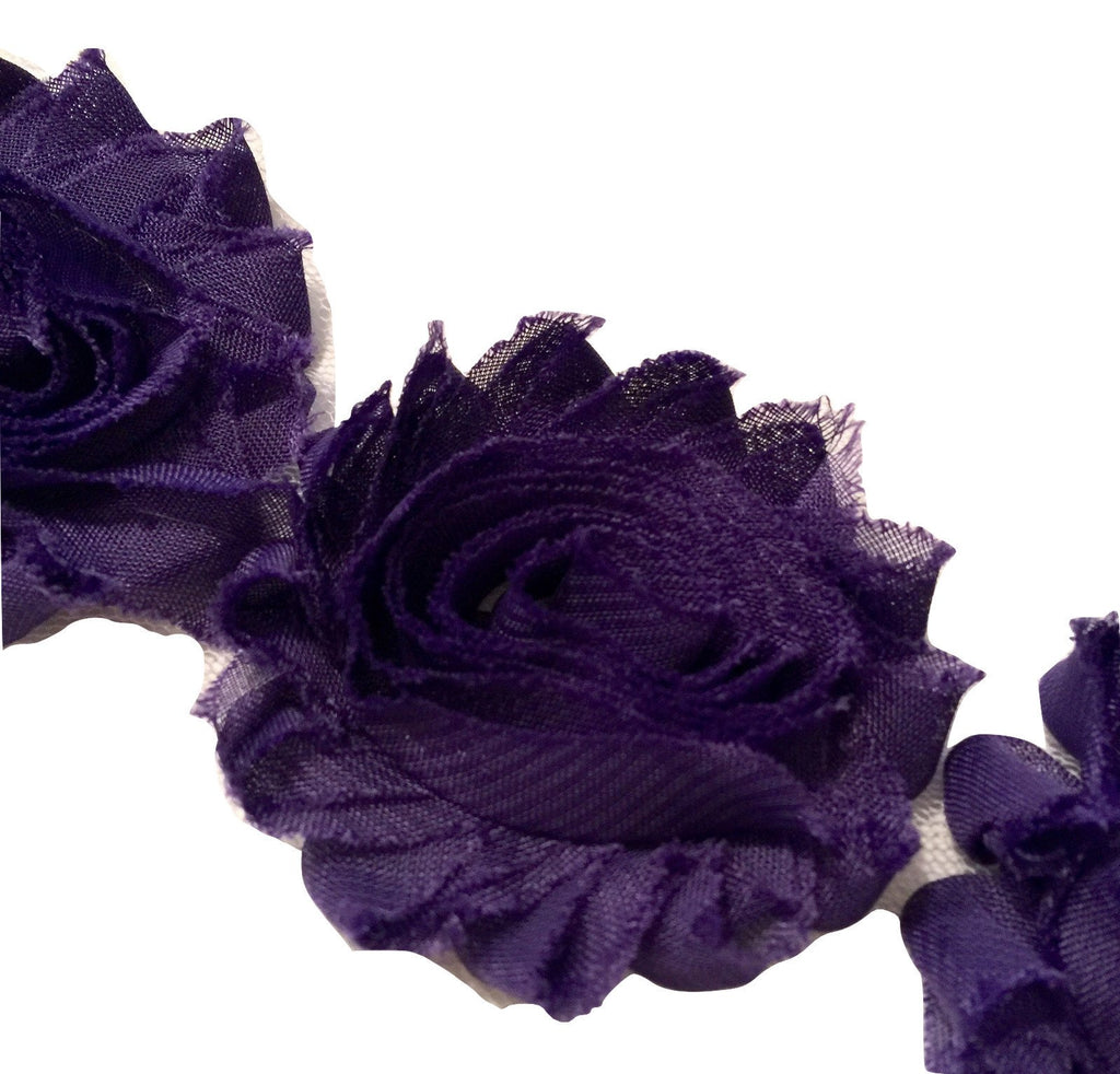 "Purple 2.5"" shabby chiffon rose trim - MAE Inspirations"