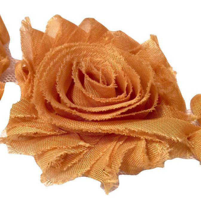 "Mustard yellow 2.5"" shabby chiffon rose trim - MAE Inspirations"