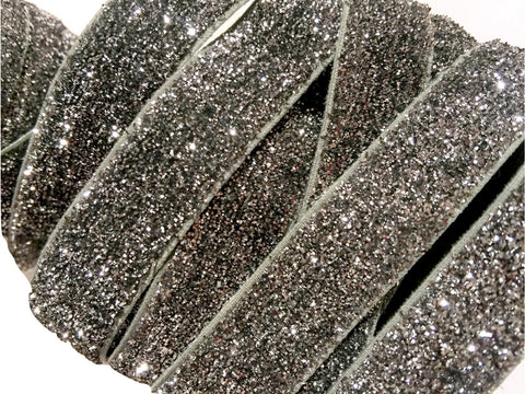 "Gray 5/8"" frosted glitter elastic - MAE Inspirations  - 2"