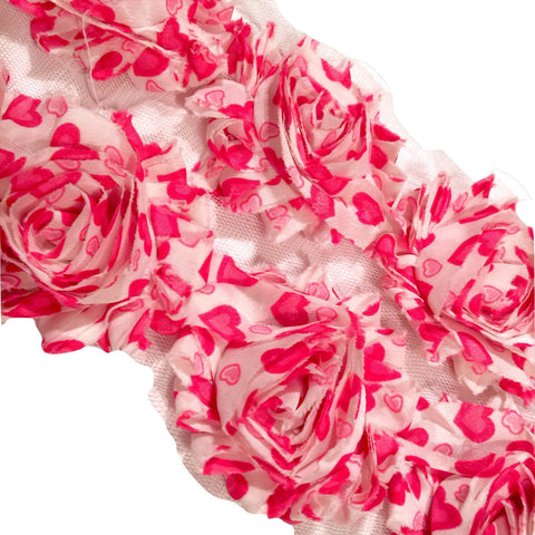 "Hot pink hearts print 2.5"" shabby chiffon rose trim - MAE Inspirations"