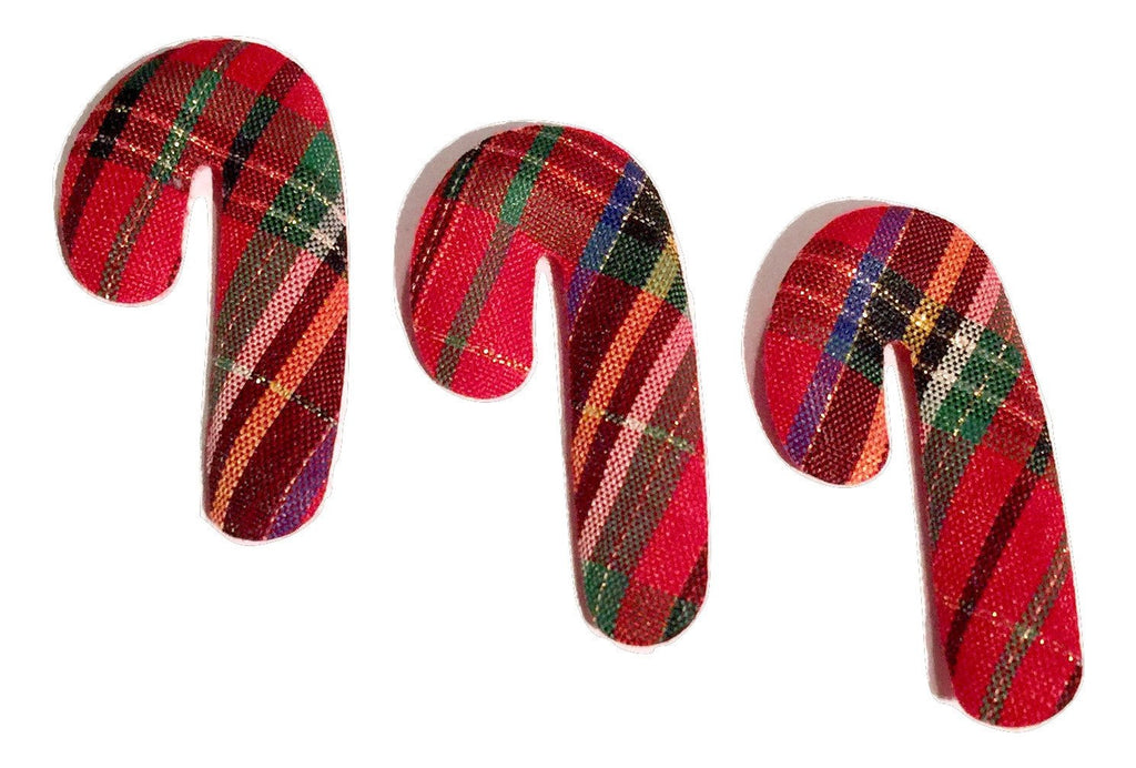 Red plaid candy cane Christmas padded felt appliqués - MAE Inspirations  - 1