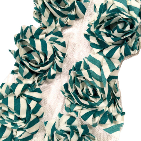 "Green & white stripe print 1.5"" petite shabby chiffon rose trim - MAE Inspirations"