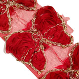 "Red 3"" sequin butterfly shabby chiffon rose trim - MAE Inspirations"