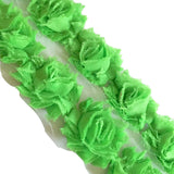 "Lime green petite 1.5"" shabby chiffon rose trim - MAE Inspirations"