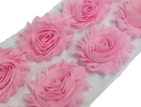 "Light pink 2.5"" shabby chiffon rose trim - MAE Inspirations"