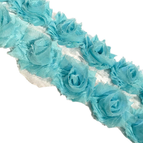 "Lake blue petite 1.5"" shabby chiffon rose trim - MAE Inspirations"