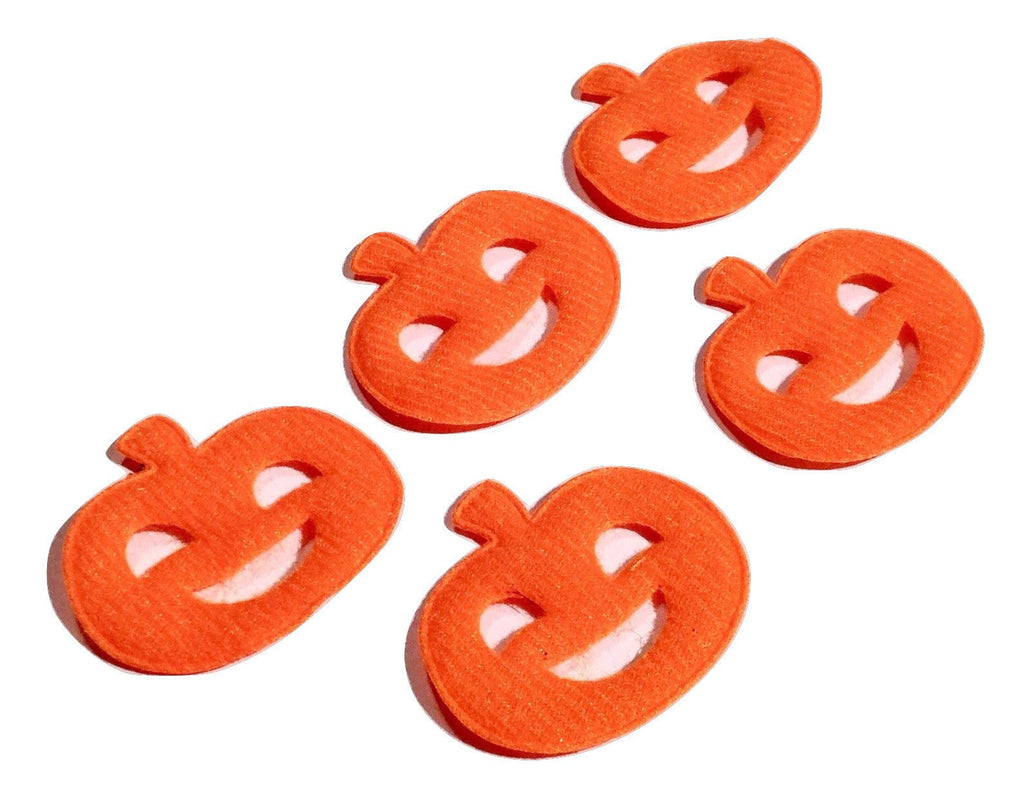 Orange jack'o lantern pumpkin felt padded appliqué - MAE Inspirations  - 1