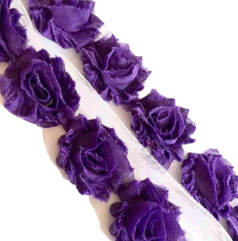 "Purple petite 1.5"" shabby chiffon rose trim - MAE Inspirations"