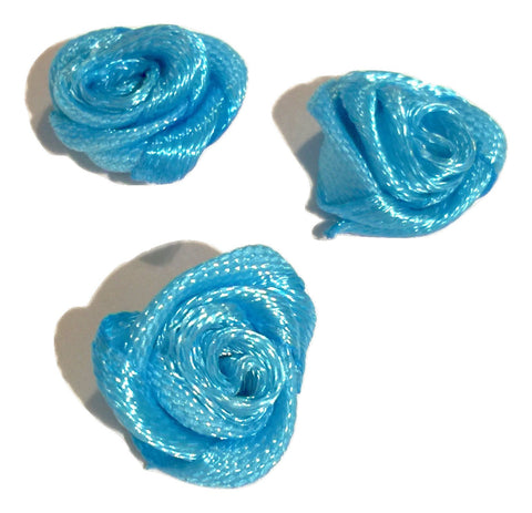 "Turquoise blue petite 1/2"" satin ribbon rolled rosette flower - MAE Inspirations"