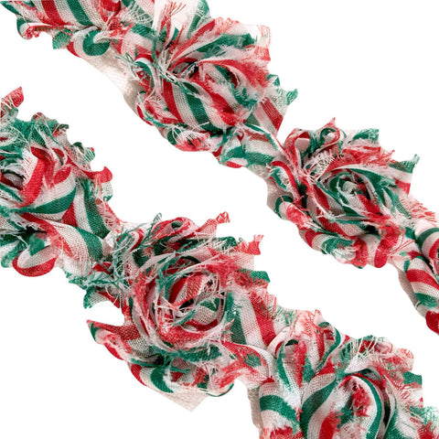 "White w/ green & red Christmas stripe print 1.5"" petite shabby chiffon rose trim - MAE Inspirations"