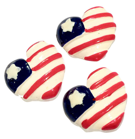 Red white & blue 4th of July American Flag heart resin cabochon 26x23mm / 1-5 pieces - MAE Inspirations