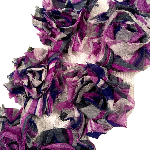 "Purple rainbow stripe print 1.5"" petite shabby chiffon rose trim - MAE Inspirations"