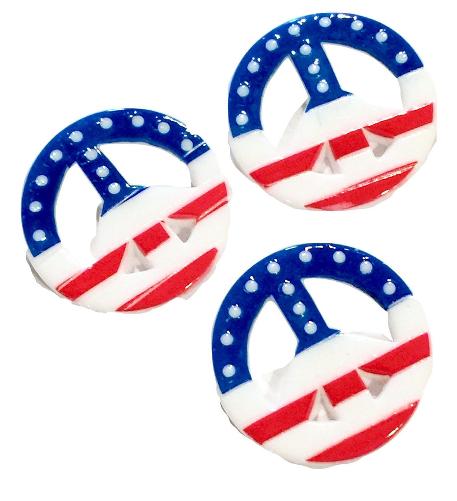 Red white & blue 4th of July American Flag peace sign resin cabochon 28mm / 1-5 pieces - MAE Inspirations