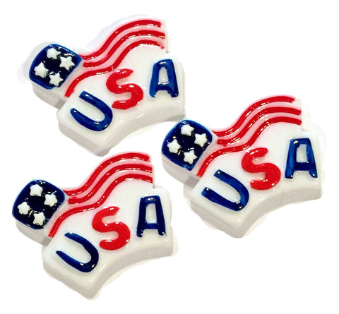 Red white & blue 4th of July American waving Flag resin cabochon 31x24mm / 1-5 pieces - MAE Inspirations