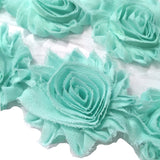 "Sea foam green 2.5"" shabby chiffon rose trim - MAE Inspirations"