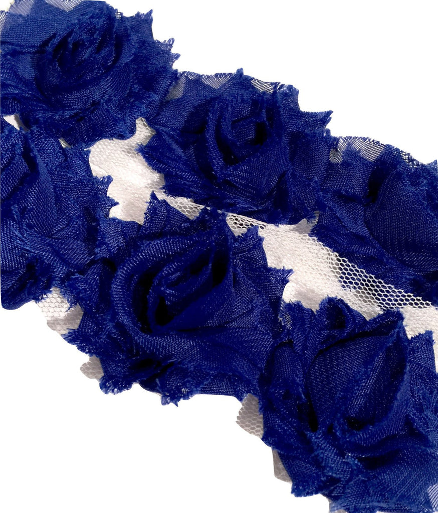 "Royal blue petite 1.5"" shabby chiffon rose trim - MAE Inspirations"