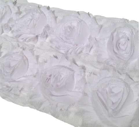 "White 2.5"" shabby chiffon rose trim - MAE Inspirations"