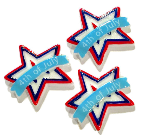 Red white & blue 4th of July Star resin cabochon 30mm / 1-5 pieces - MAE Inspirations