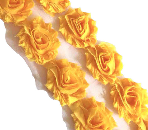 "Yellow petite 1.5"" shabby chiffon rose trim - MAE Inspirations"