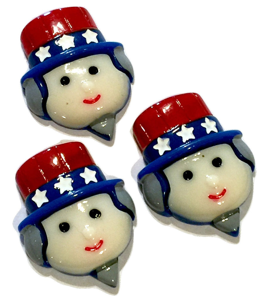 Red white & blue 4th of July Uncle Sam resin cabochon 25x33mm / 1-5 pieces - MAE Inspirations