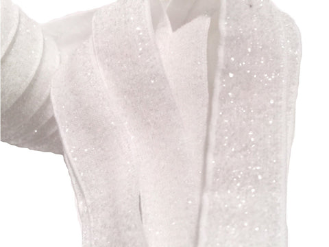 "White 5/8"" frosted glitter elastic - MAE Inspirations"
