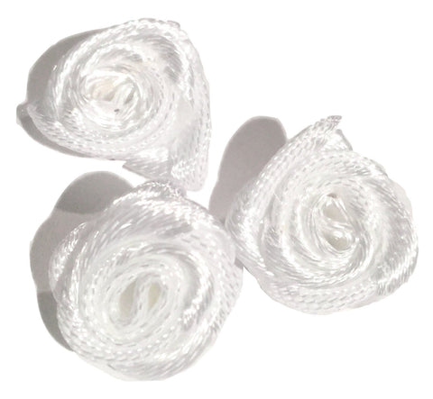 "White petite 1/2"" satin ribbon rolled rosette flower - MAE Inspirations"