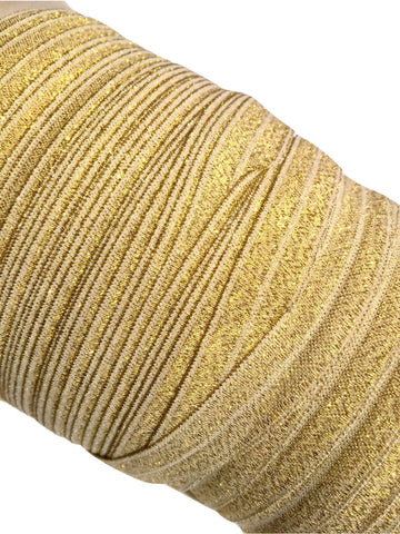 "White with gold 5/8"" metallic FOE Fold over elastic - MAE Inspirations"