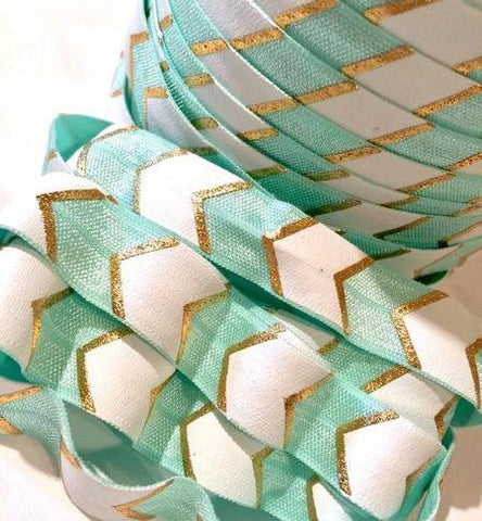 "Aqua blue, white & gold metallic chevron print 5/8"" fold over elastic FOE - MAE Inspirations  - 1"