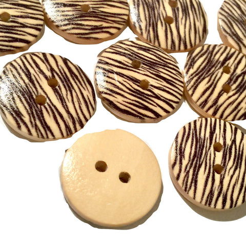 18mm zebra print 2 hole wooden button - MAE Inspirations