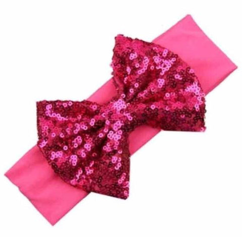 Hot pink jumbo sequin bow baby headband