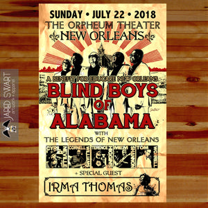 2018 Blind Boys of Alabama gig poster art print. Commissioned by Amberly Stokes Promotions with Educare New Orleans