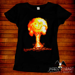 Mushroom Cloud Happy Face T-Shirt inspired by the 1975 movie A Boy and His Dog