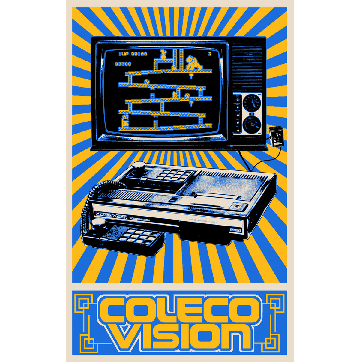 Colecovision retro video game console poster art print 11x17