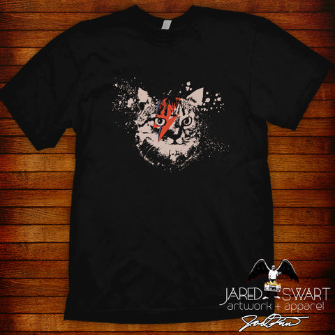 David Bowie kitty cat T-shirt artwork by Jared Swart