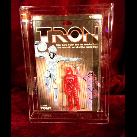 Tron action figure by Tomy 1982 new never opened collectable hard acrylic display case Sark