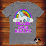 Retro Unicorn T-shirt Follow Your Dreams
