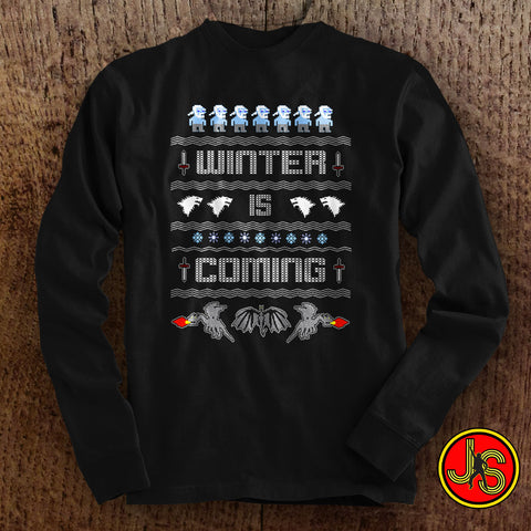 Winter Is Coming Ugly Christmas Sweater design long sleeve t-shirt